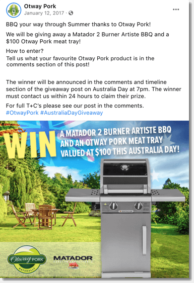 Screenshot of an Australia Day giveaway organized on Facebook by Otway Pork