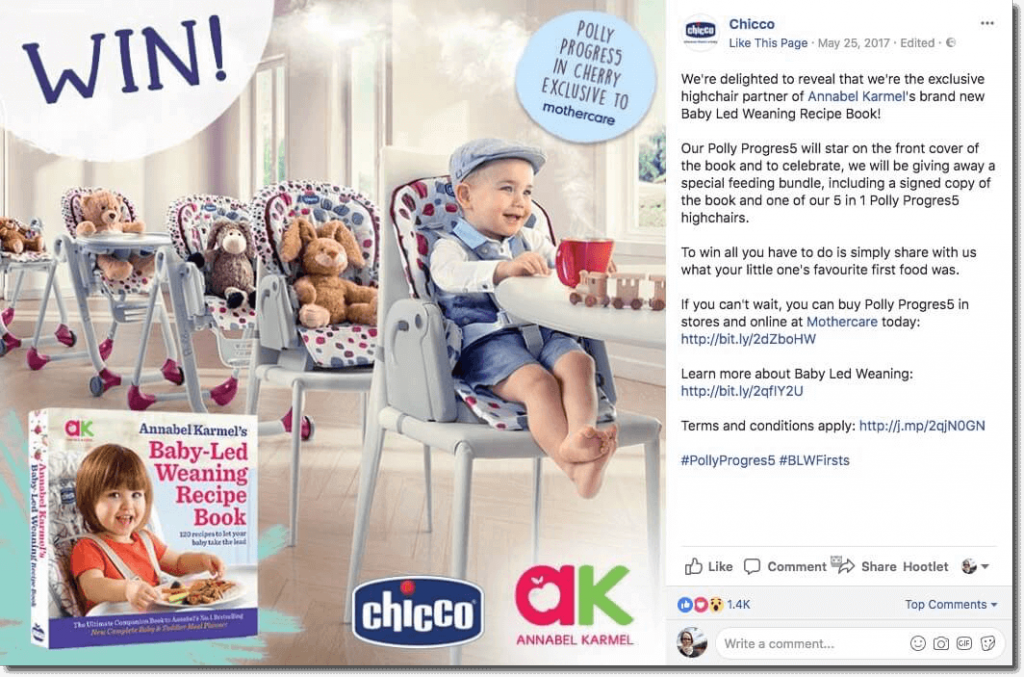 "Example of a Facebook giveaway. The image shows a baby sitting at a table, surrounded by toys, with an inset image of the book on offer, ""Baby-Led Weaning Recipe Book"". The post explains the brand partnership and asks users to comment with their baby's first food."