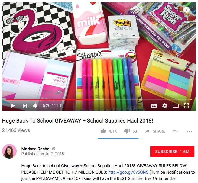 Back to School campaign with YouTube giveaway