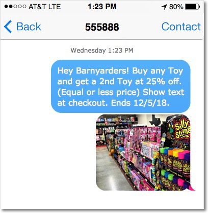 Screenshot of mobile phone with friendly text message offer from Barnyard.