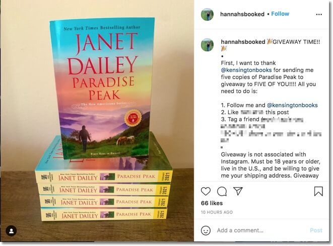 book giveaway on instagram organized by a book influencer
