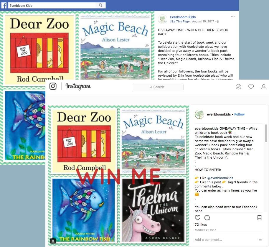 The image shows identical posts on Facebook and Instagram. A set of 4 children's books is available to win.