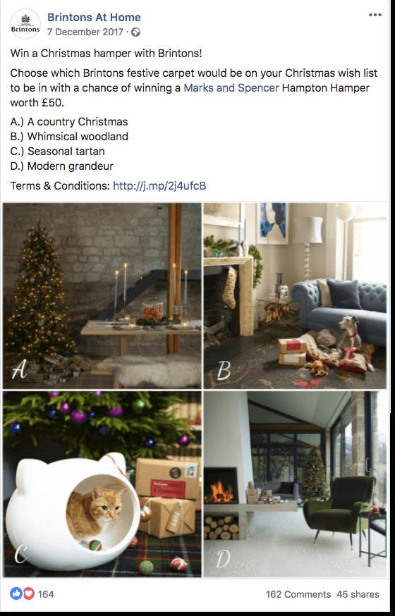 Christmas giveaways on social media Facebook
