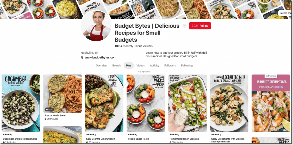 Screenshot of the Budget Bytes Pinterest page. All of the posts are in a distinctive house style, with an instantly recognizable font and layout.