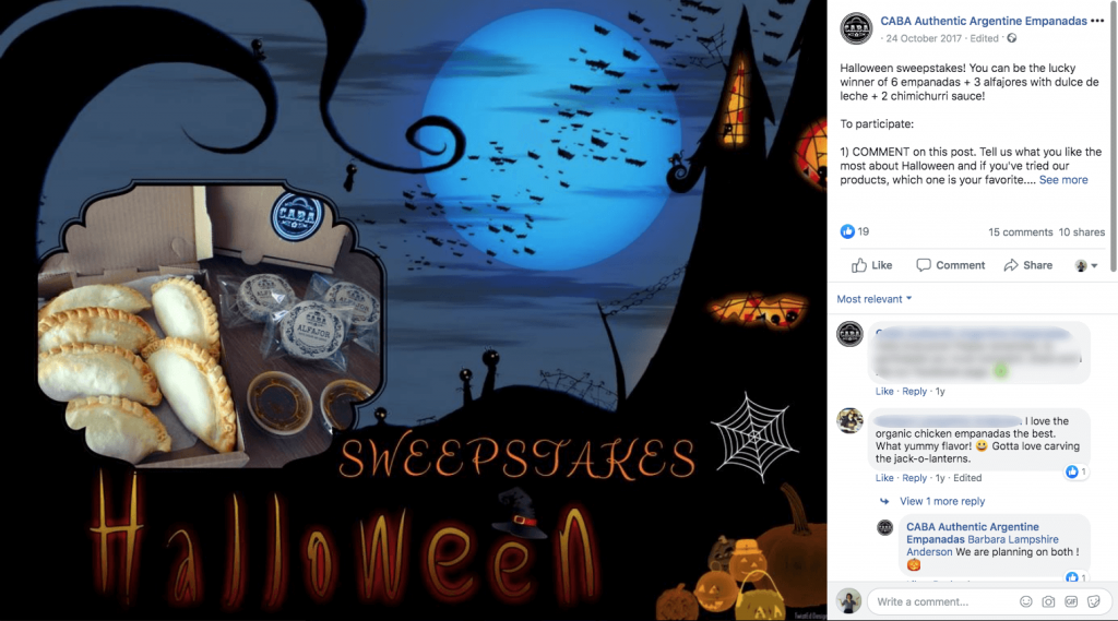 Halloween promotions on Facebook: this post shows an assortment of empanadas and alfajores against a spooky Halloween background.