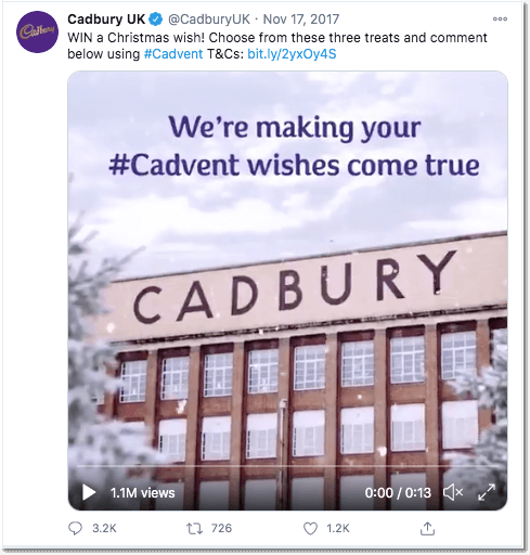 Christmas Twitter giveaway idea: screenshot from Cadbury UK.