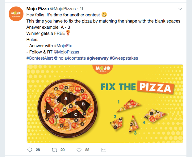 Restaurant promotions with quiz or survey. In this example, a pizza restaurant asks people to solve a puzzle on Twitter to win a free delivery.