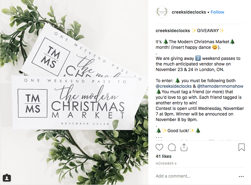 Christmas giveaways on social media Instagram