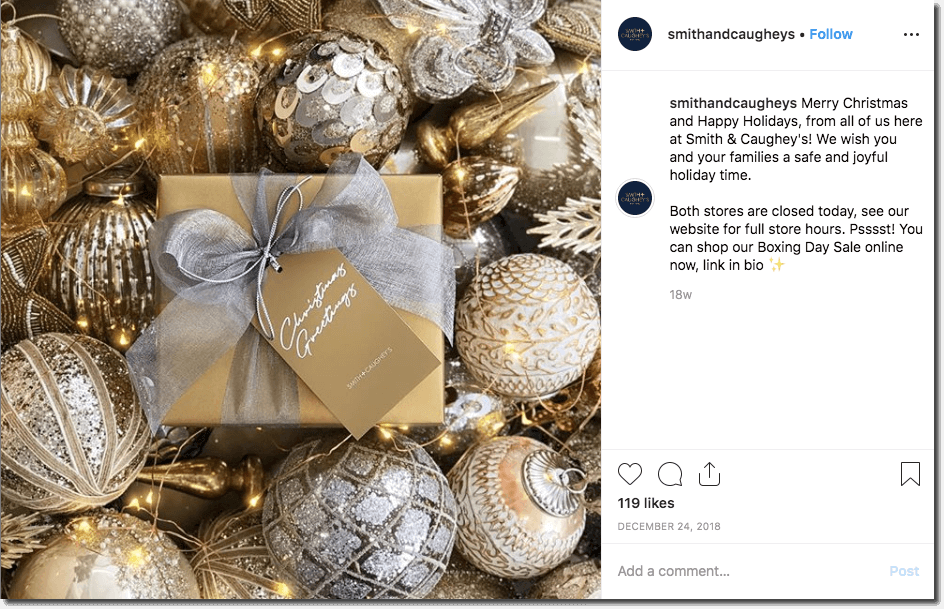 Examples of malls on Instagram: this post shows a collection of gold and silver Christmas tree ornaments, topped with a gold and silver-wrapped present. The caption wishes viewers a merry Christmas, and reminds them of the store's holiday opening hours.