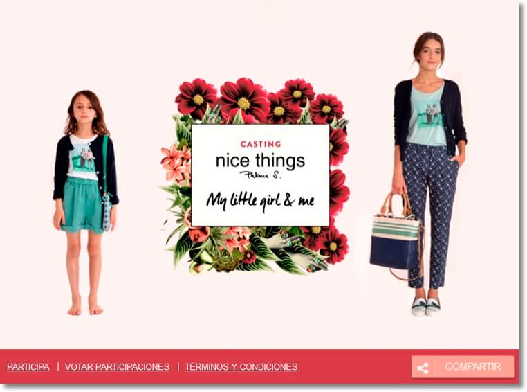 "Screenshot of a photo contest to promote a fashion collection. The image shows a mother and daughter, standing either side of a sign which reads ""Casting: Nice Things. My Little Girl and Me."""