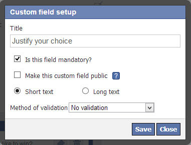 Configuring text field