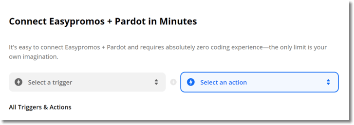 "Screenshot from Zapier. The website reads: ""Connect Easypromos and Pardot in minutes... select a trigger. Select an action."""