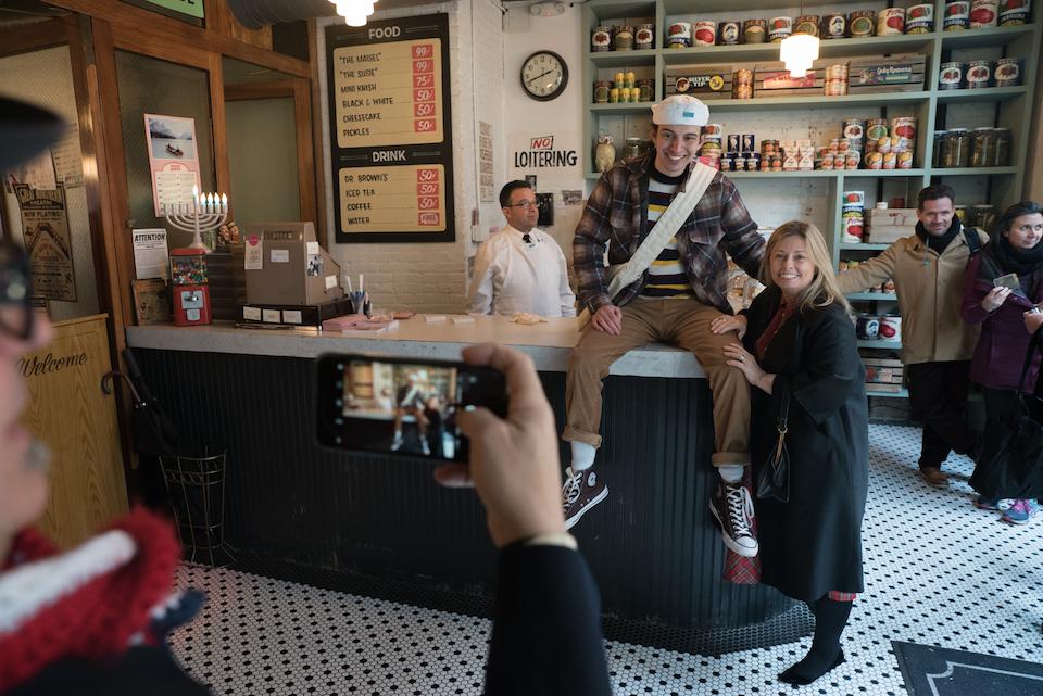 Photo of customers in Amazon Video's vintage deli.