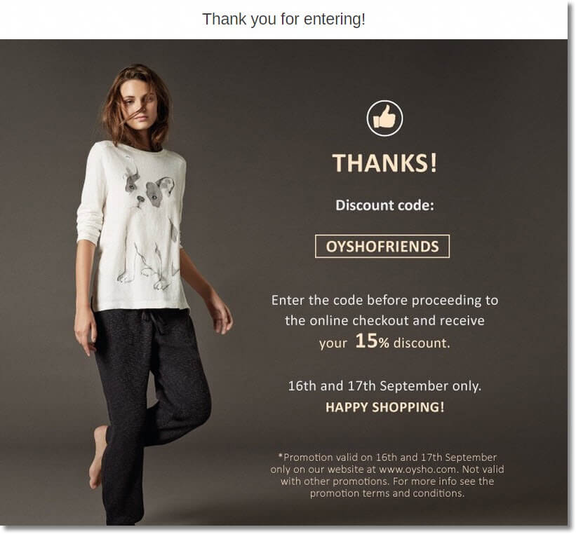 Screenshot of a discount code to promote a fashion collection. New subscribers receive a 15% discount code to thank them for their participation.