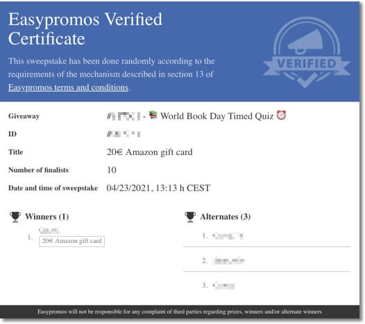 Easypromos certificate of validity