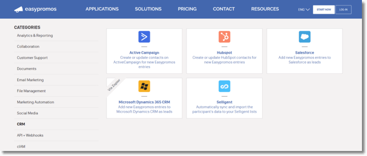 Screenshot of the Easypromos integrations page. You can select apps to integrate from 11 different categories.