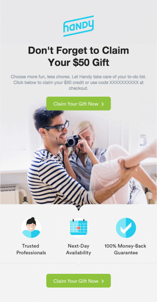 "Example of a reminder for a giveaway with email marketing. The title text reads, ""Don't forget to claim your $50 gift"". The CTA button reads ""Claim your gift now""."