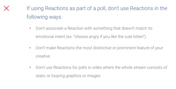 Facebook Guidelines Reactions for Polls