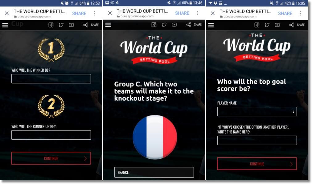 online betting pool on social media, examples of football world cup