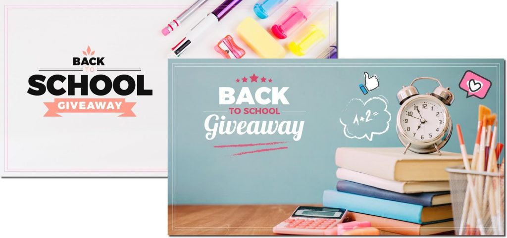Facebook giveaway templates for your Back to School campaign