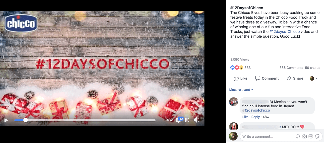 Facebook Christmas campaigns 12 days video