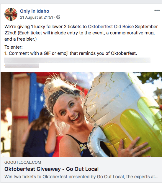 Oktoberfest giveaways Facebook