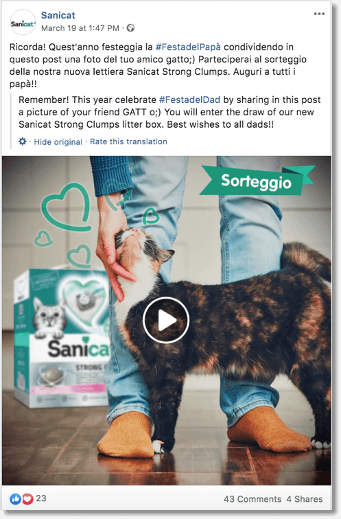 Facebook pet giveaway organized by a pet brand