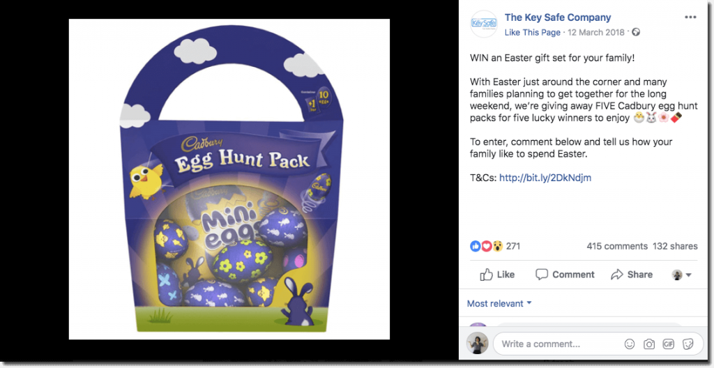 Example of an Easter giveaway on Facebook. The image shows a Cadbury's Egg Hunt Pack of assorted chocolate eggs.