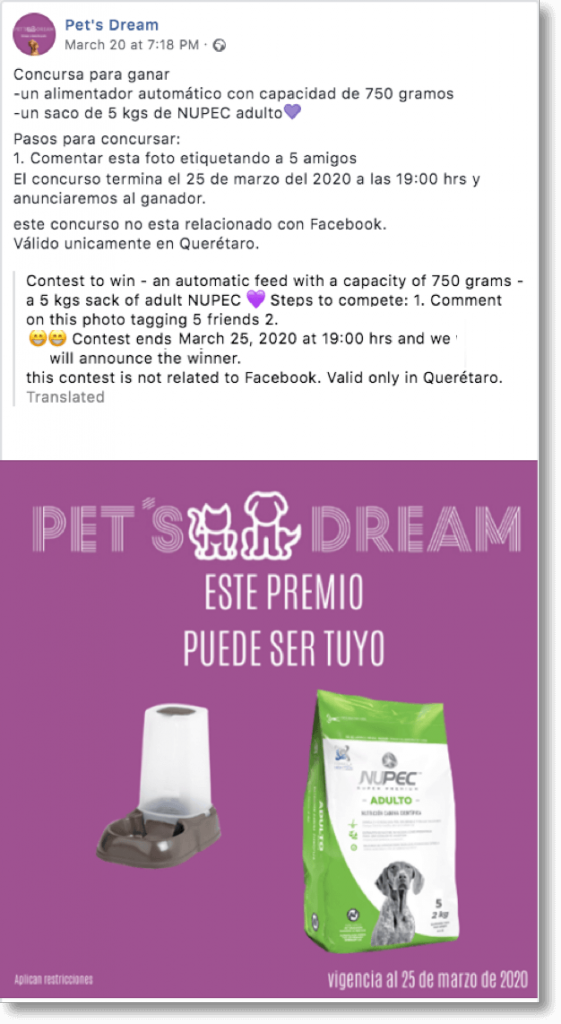 Pet giveaway organized by Pet's Dream on Facebook