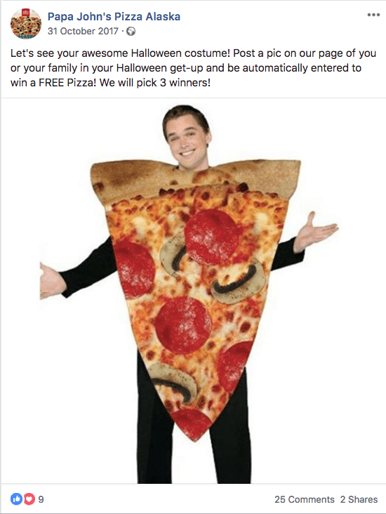 Example of a Halloween giveaway on social media: this Facebook post from Papa John's Pizza Alaska is illustrated with a photo of a man dressed as a slice of pizza.