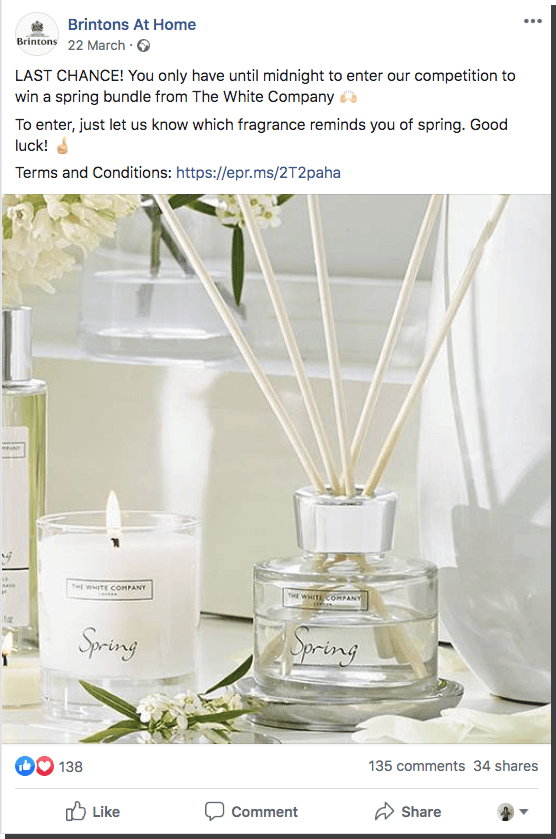 Spring giveaway ideas for Facebook: users comment their favorite spring fragrance to win a bundle of home spring goods.