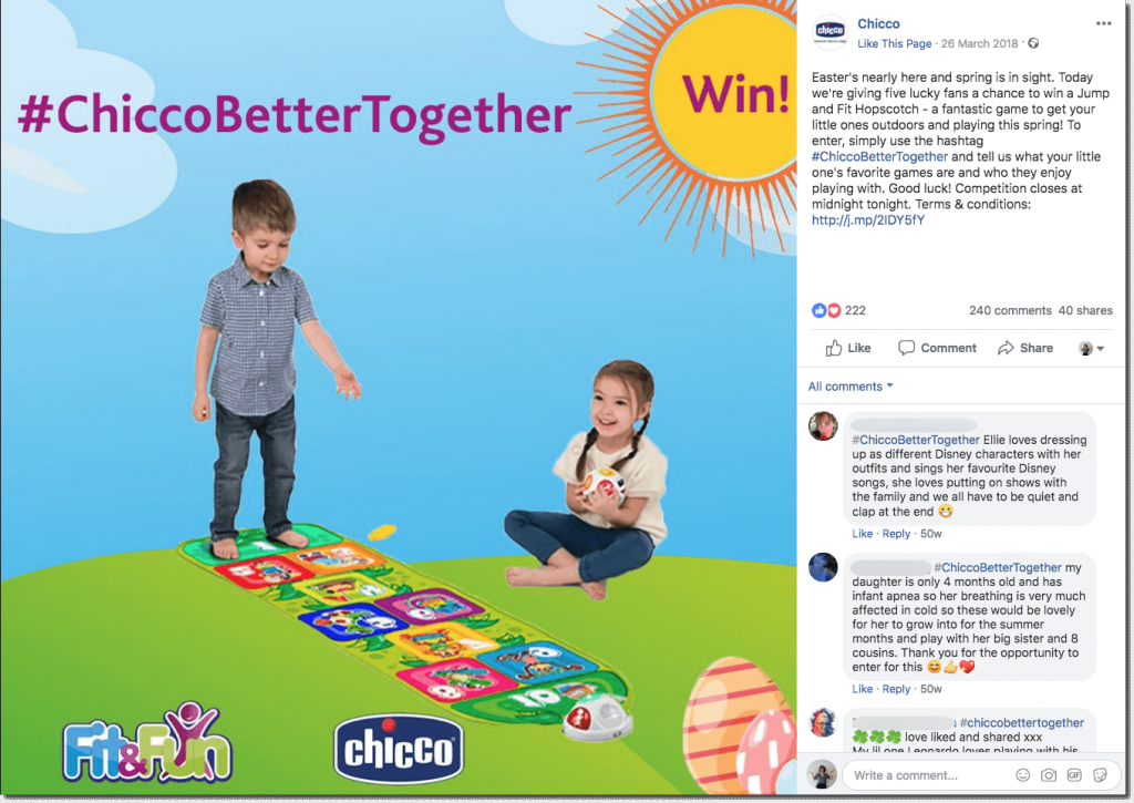 Example of an Easter giveaway on Facebok. The image shows two young children playing with an interactive hopscotch toy, against a CGI background of grass, blue sky, and the sun.