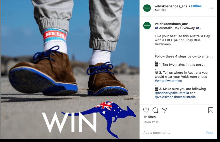 Australia Day giveaway. Screenshot of an instagram giveaway organized for australia day by Veldskoen Shoes