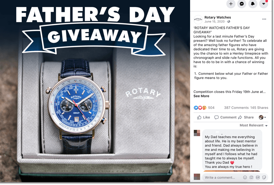 Father's Day giveaway on Facebook organized by a watch brand.