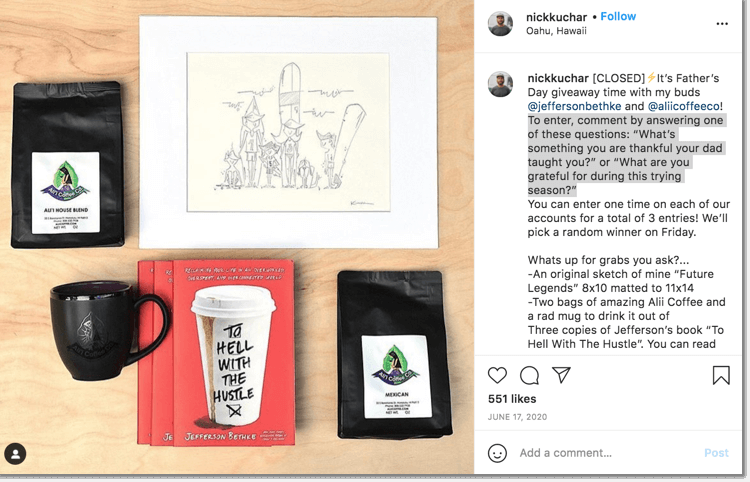 Father's Day social media giveaways, example of a giveaway organized on Twitter by an art and design account.
