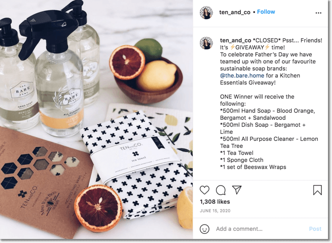 Father's Day giveaways, example of a giveaway organized on Instagram by Ten and Co brand, which teamed up with sustainable soap brands to give away a bundle of their favorite products.