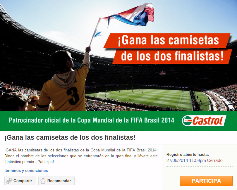 Screenshot from a FIFA World Cup promotion. The winner will receive jerseys from both teams.
