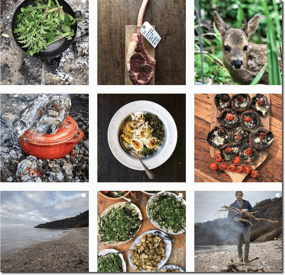 Screenshot of Gill Meller's Instagram grid, showing outdoor cooking, wild animals, landscapes, and the chef gathering firewood.