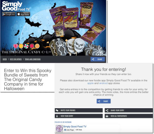 Screenshots of a Halloween sales contest. Participants get more chances to win a bundle of Halloween-themed candy when they recruit their friends to the prize draw.