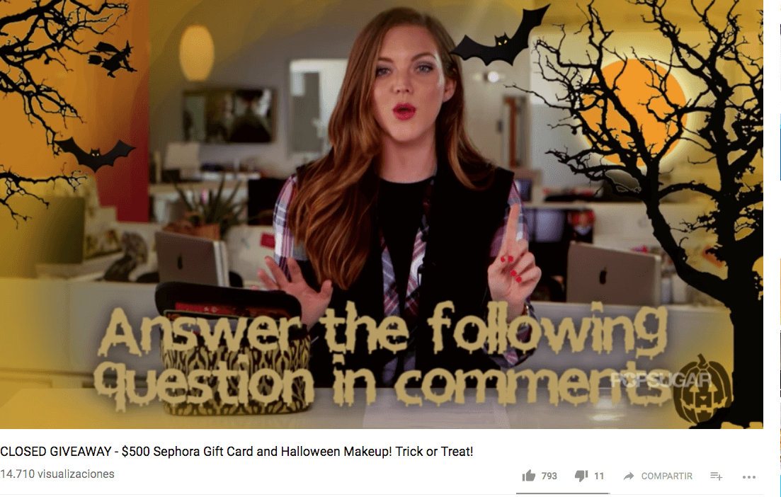 Halloween giveaway on YouTube comments