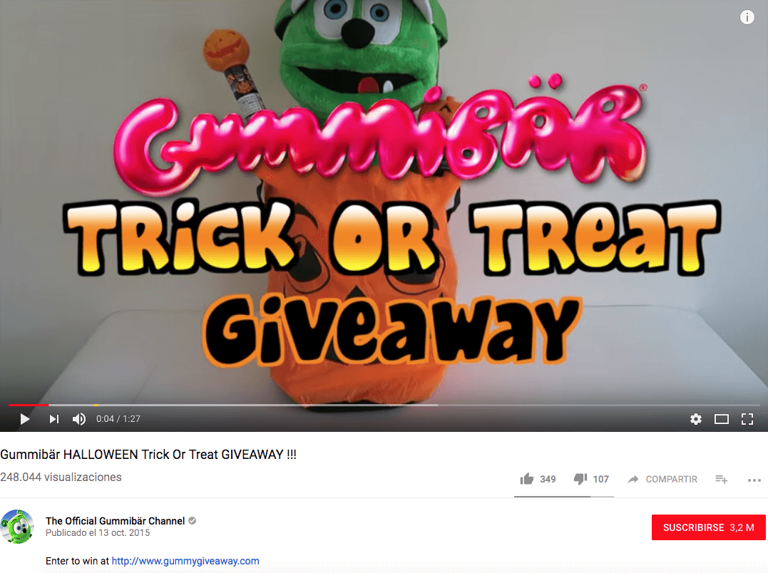 Halloween giveaway on YouTube registration form