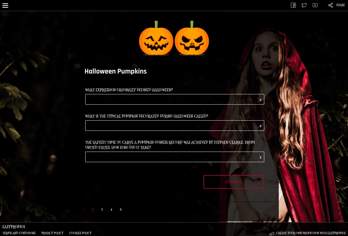Screenshot from a Halloween themed quiz. Users answer 3 questions about the tradition of carving pumpkins, in order to enter the prize draw.