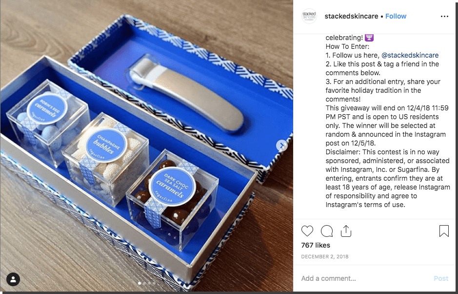 Hannukah Instagram giveaway candy