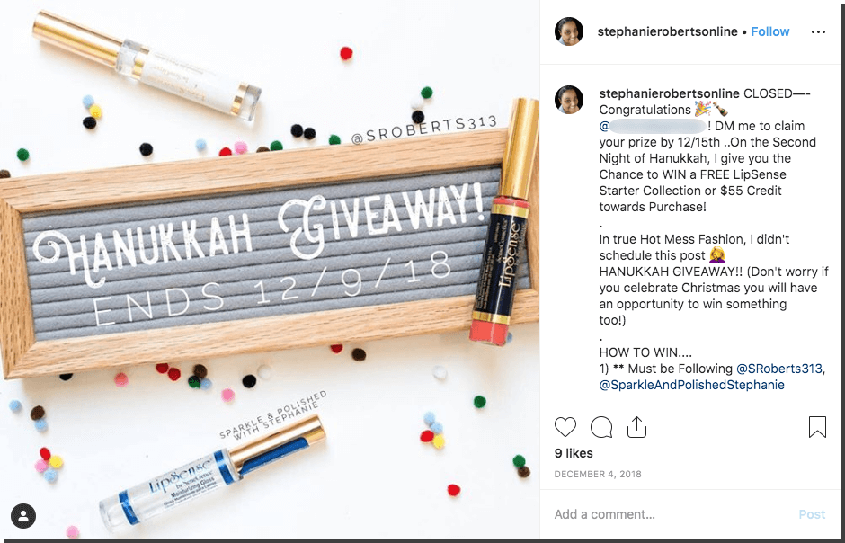 Hannukah Instagram giveaway cosmetics