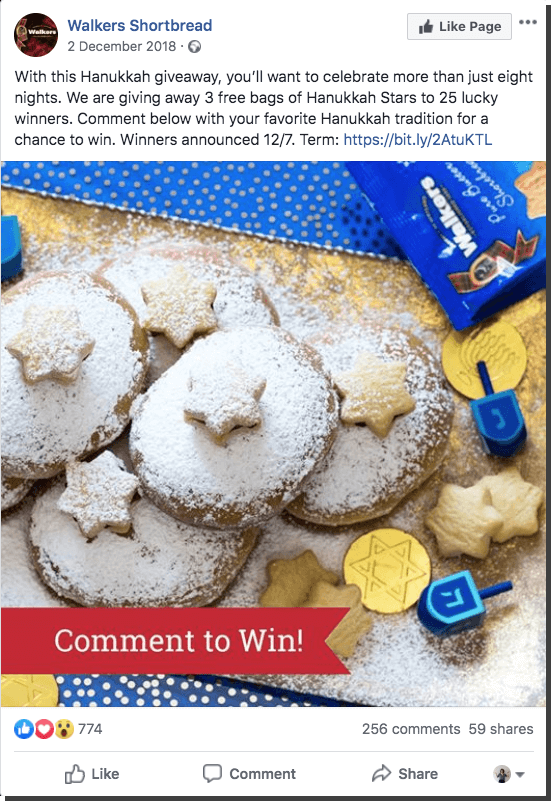 Hanukkah Facebook giveaway cookies