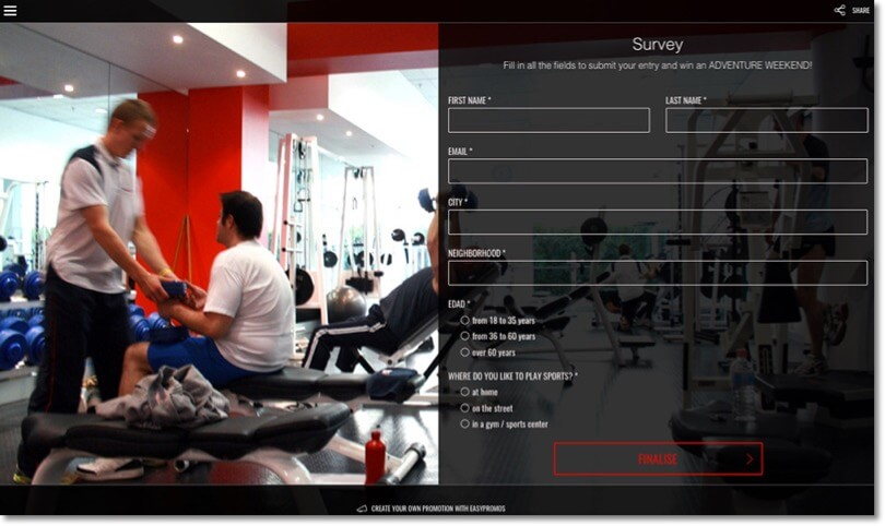 Screenshot of a gym survey. Questions include location, neighbourhood, age, and preferred workout space.