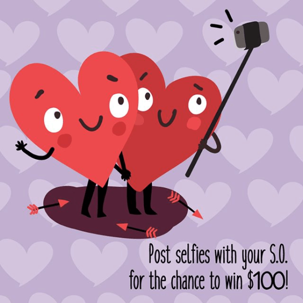 Image explaining rules of Valentine's Day photo contest with mention + hashtag