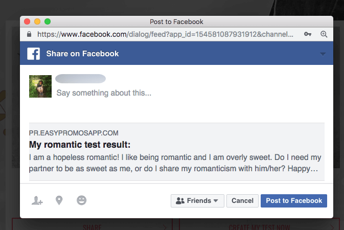 Image of Facebook status sharing results of Valentine's Day quiz