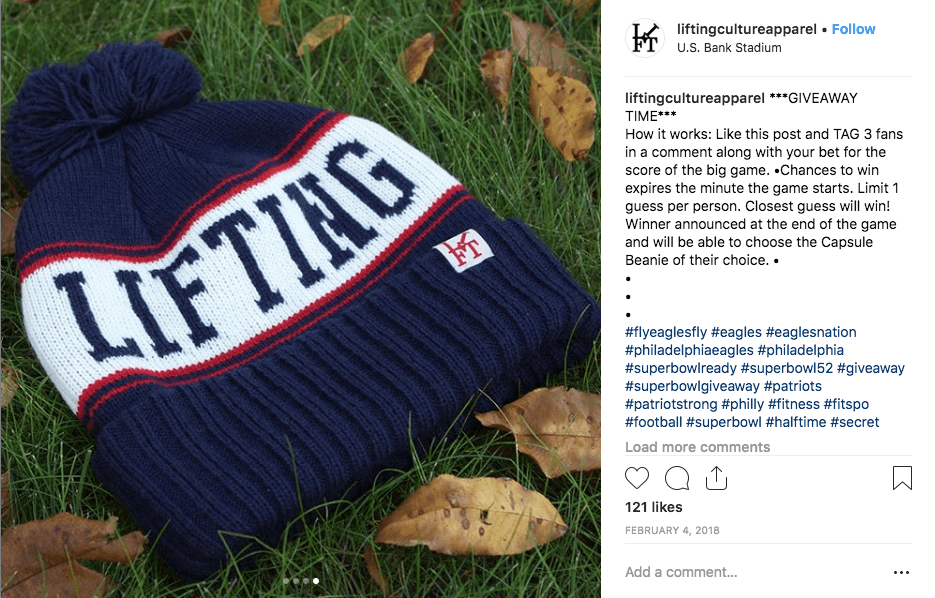 Image of Super Bowl Instagram giveaway of sports gear
