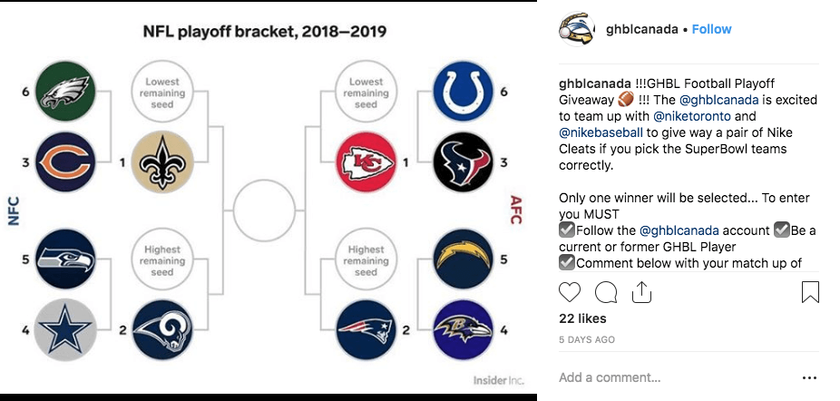 Image of Super Bowl Instagram giveaway with playoff bracket diagram